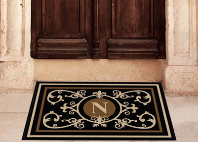 Edinburgh Estate Doormat  Monogrammed Black & Suede Estate - The Personalized Doormats Company
