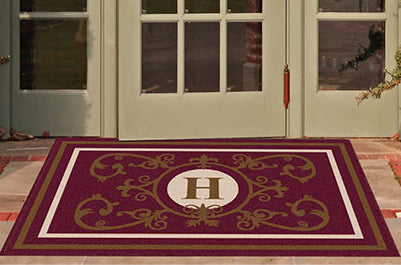 Edinburgh Estate Doormat Monogrammed Burgundy Estate - The Personalized Doormats Company