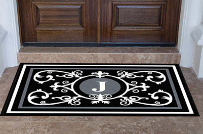 Edinburgh Estate Doormat Monogrammed Black & White