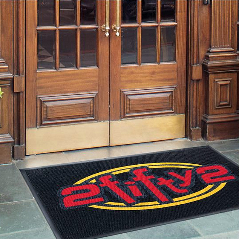 Luxury Berber Inlay Doormat | The Personalized Doormats Company| Black Background Red and yellow Logo