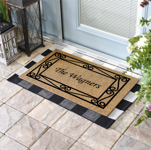 Wrought Iron Border Personalized Doormat