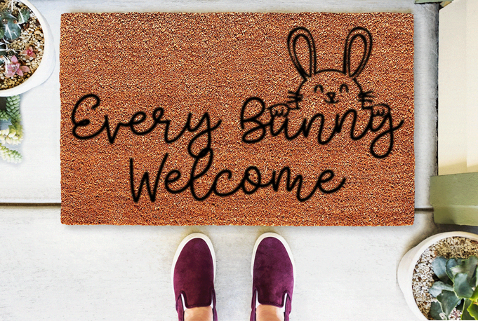 Every Bunny Welcome Coir Doormat Funny Mat Classic and Duracoir - The Personalized Doormats Company