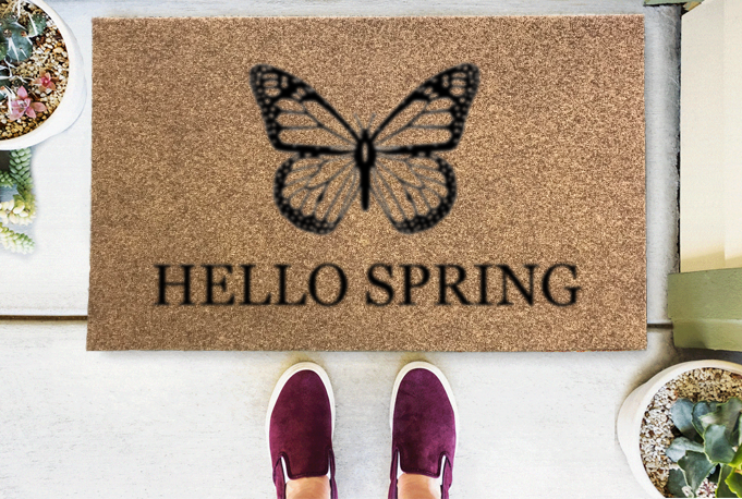Hello Spring Butterfly Coir Doormat Funny Mat Classic and Duracoir - The Personalized Doormats Company
