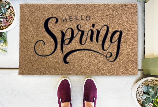 Hello Spring Coir Doormat Funny Mat Classic and Duracoir - The Personalized Doormats Company