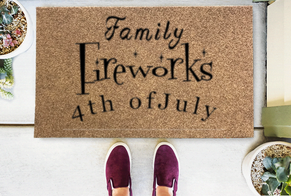 Family Fireworks and 4th Of July Coir Doormat Funny Mat Classic and Duracoir - The Personalized Doormats Company