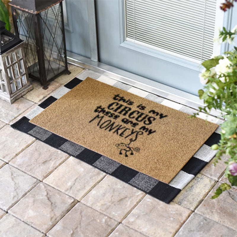 Hanging Circus Monkey Coir Doormat Funny Mat Classic and Duracoir - The Personalized Doormats Company