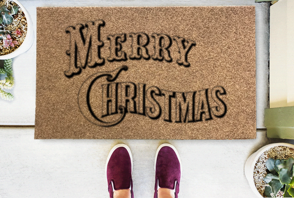 Vintage Merry Christmas Coir Doormat-Funny Mat Classic and Duracoir-The Personalized Doormats Company