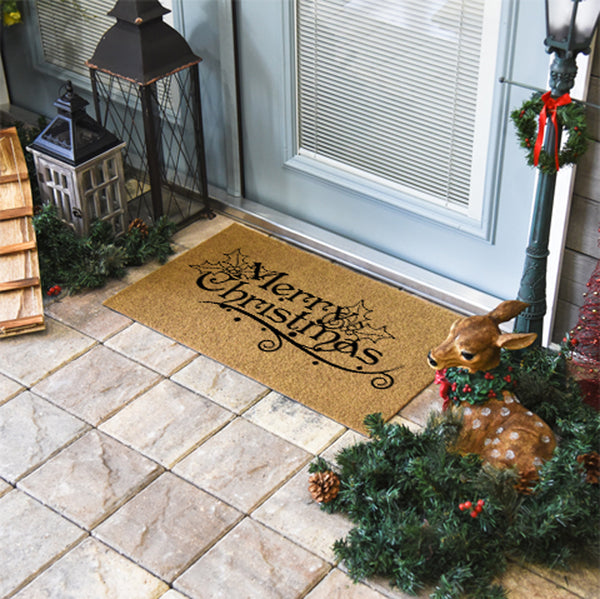 Merry Christmas Mistletoe Coir Doormat