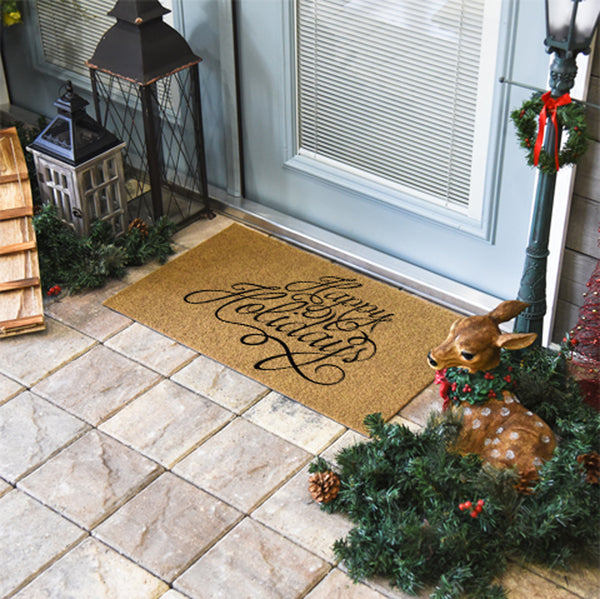 Happy Holidays Coir Doormat