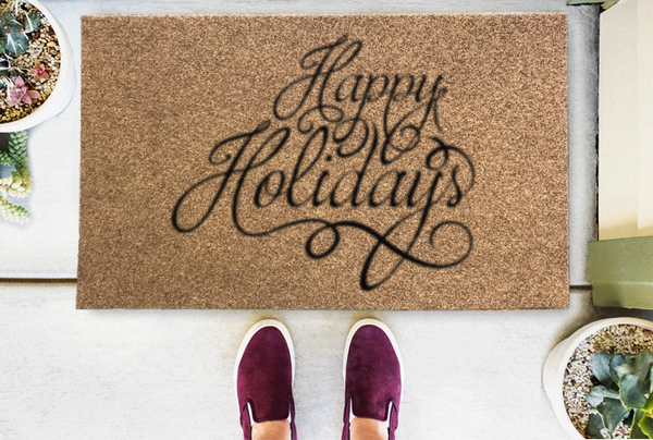 Happy Holidays Coir Doormat Funny Mat Classic and Duracoir - The Personalized Doormats Company