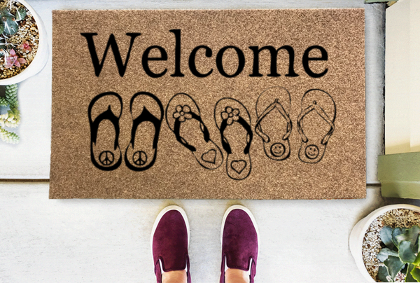 Peace Love Happiness Flip Flop Coir Doormat-Funny Mat Classic and Duracoir-The Personalized Doormats Company