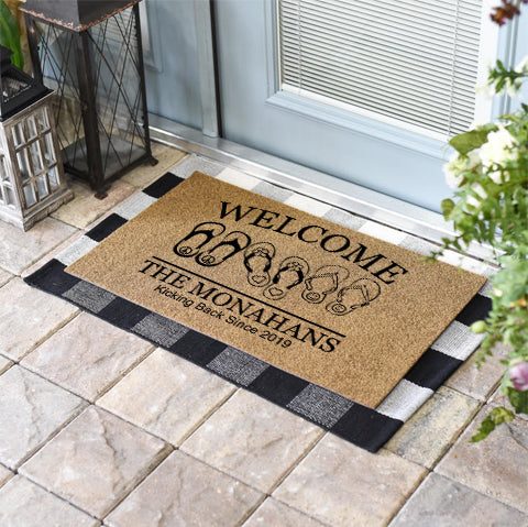Kicking Back Flip Flops Welcome Doormat