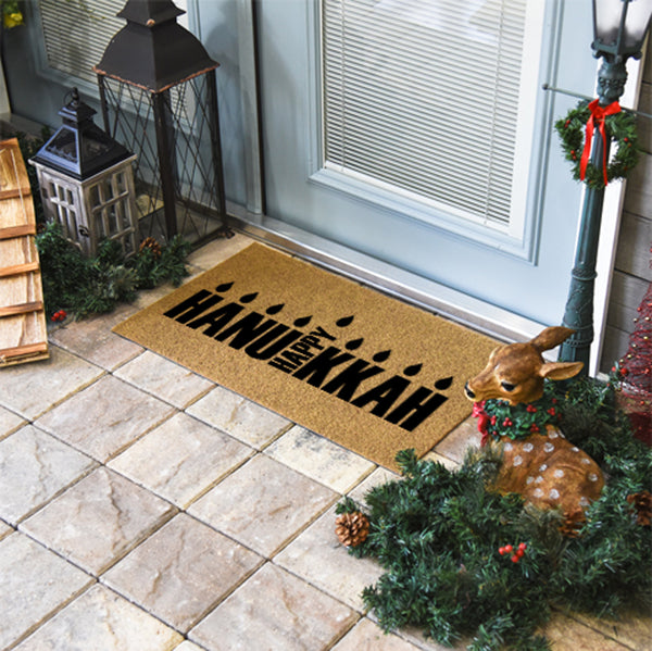 Happy Hannukah Coir Doormat