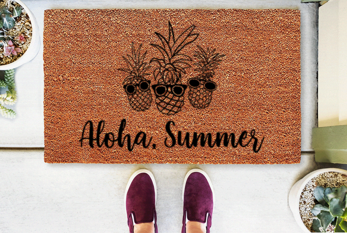 Aloha, Summer Coir Doormat Funny Mat Classic and Duracoir - The Personalized Doormats Company