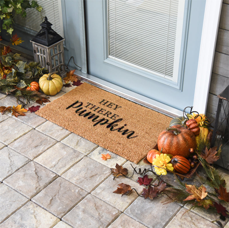 Hey There Pumpkin Coir Doormat Funny Mat Classic and Duracoir - The Personalized Doormats Company