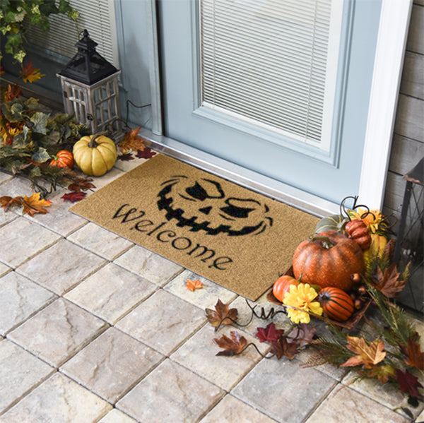 Evil Pumpkin Welcome Coir Doormat Funny Mat Classic and Duracoir - The Personalized Doormats Company