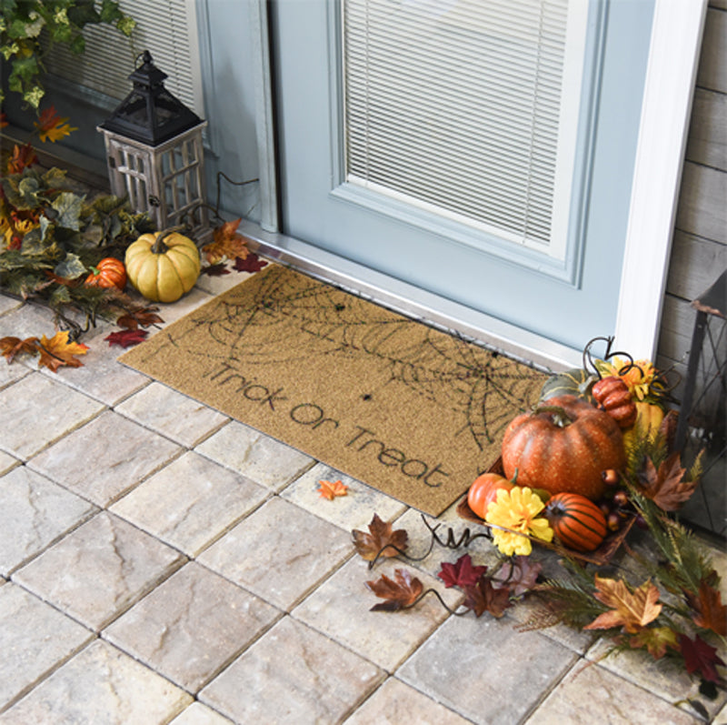Trick Or Treat Spider Web Doormat 18 x 30 Duracoir