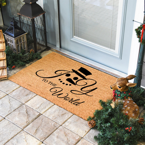 Joy to the World Snowman Coir Doormat