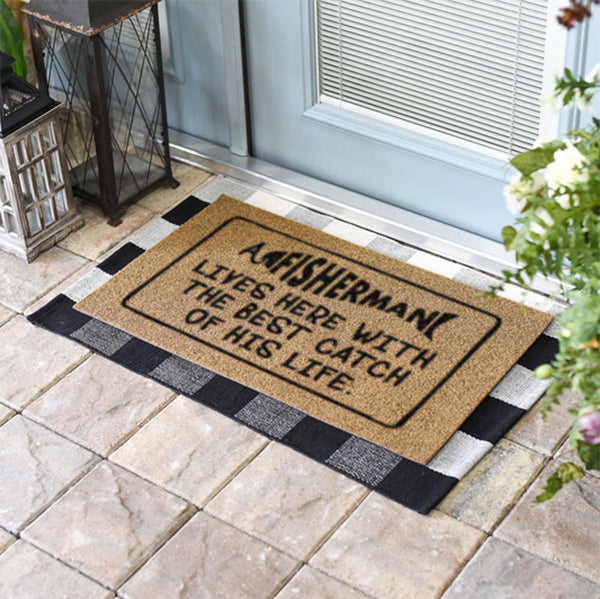 A Fisherman Lives Here With The Best Catch Of His Life Doormat
