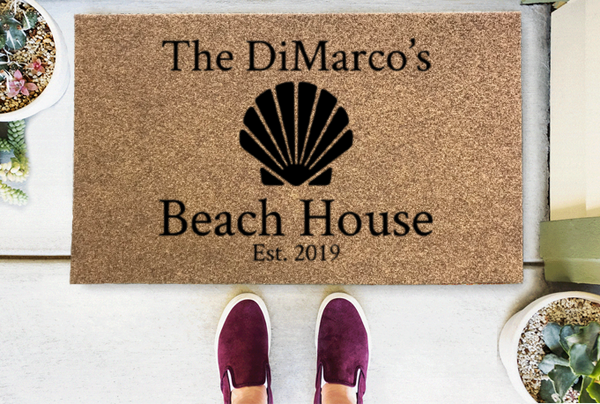 Beach House Seashell Personalized Doormat