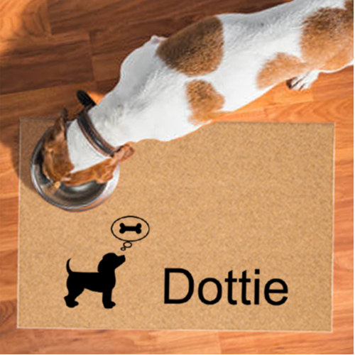 Thinking Dogbone Personalized Dog Petmat