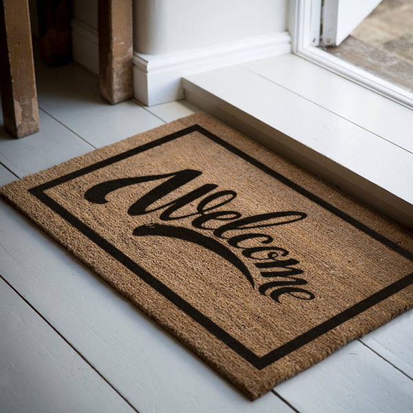 18 x 30 Classic Coir Doormat Welcome Swoosh Welcome Mat - The Personalized Doormats Company