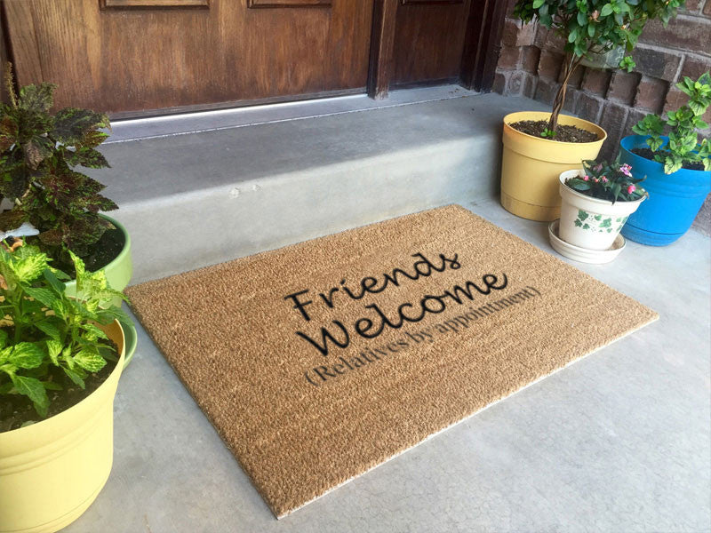 24 x 36 Classic Coir Funny Mat - Friends welcome relatives by appointment