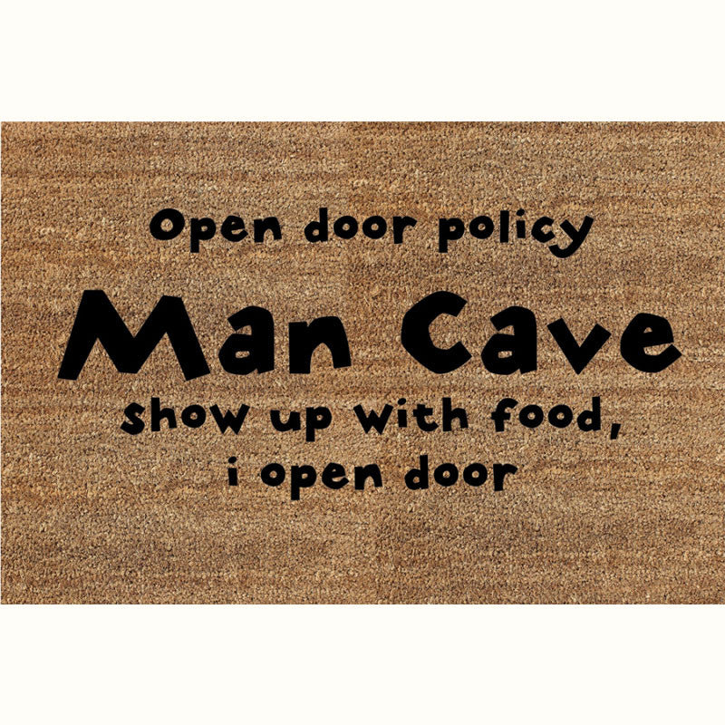 24 x 36 Classic Coir Funny Mat - Man Cave Open Door Policy