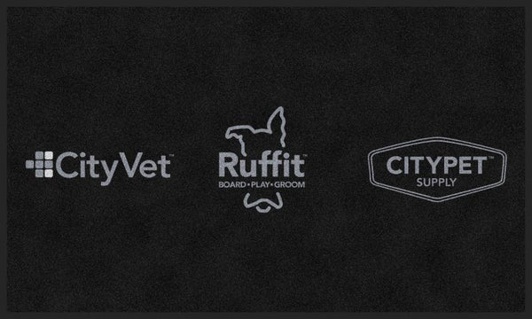 CityVet (gray logo) 3 X 5 Rubber Backed Carpeted - The Personalized Doormats Company