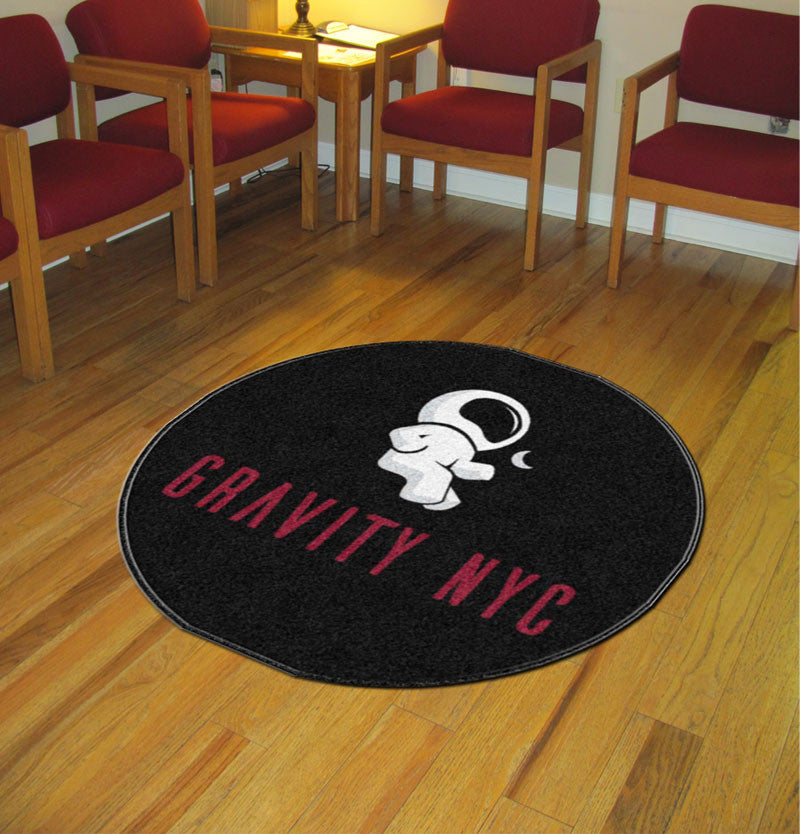 Gravity boutique 4 X 4 Rubber Backed Carpeted HD Round - The Personalized Doormats Company