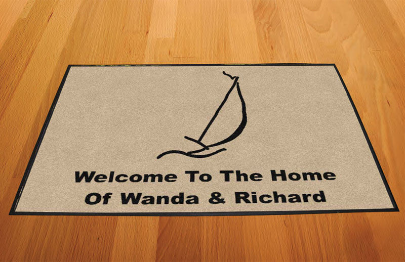 Home of Wanda and Richard 2 X 3 Rubber Backed Carpeted HD - The Personalized Doormats Company