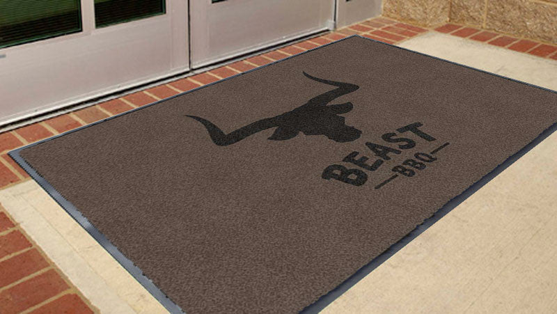Beast Logo Mat 3 x 5 Flocked Olefin 2 Color - The Personalized Doormats Company