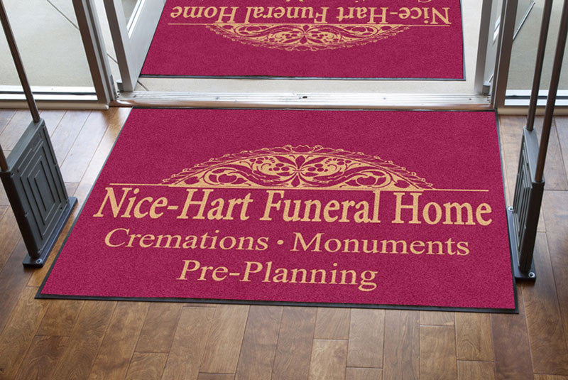 HART FUNERAL HOME 4 X 6 Rubber Backed Carpeted - The Personalized Doormats Company