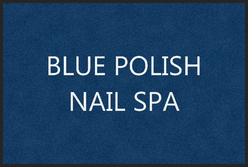 BLUE POLISH NAIL SPA 2 x 3 Flocked Olefin 2 Color - The Personalized Doormats Company