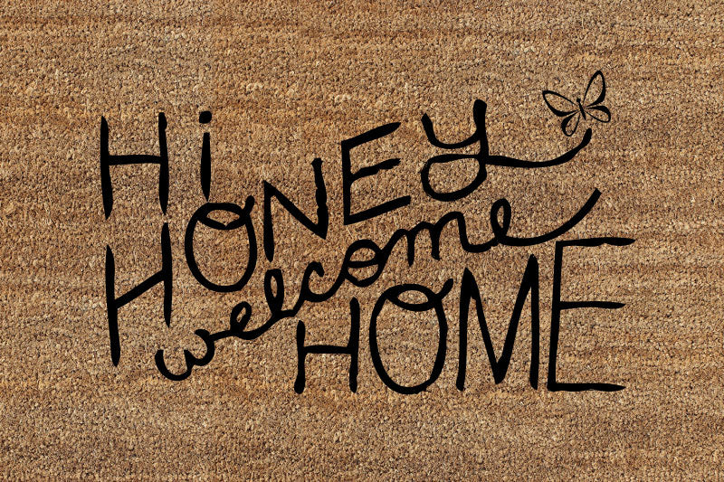 Hi Honey, Welcome Home 2 X 3 Flocked Classic Coir (PDC) - The Personalized Doormats Company