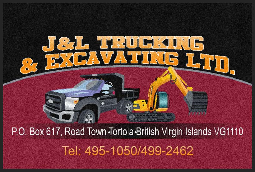 J & L Trucking & Excavating Ltd. 2 X 3 Rubber Backed Carpeted HD - The Personalized Doormats Company