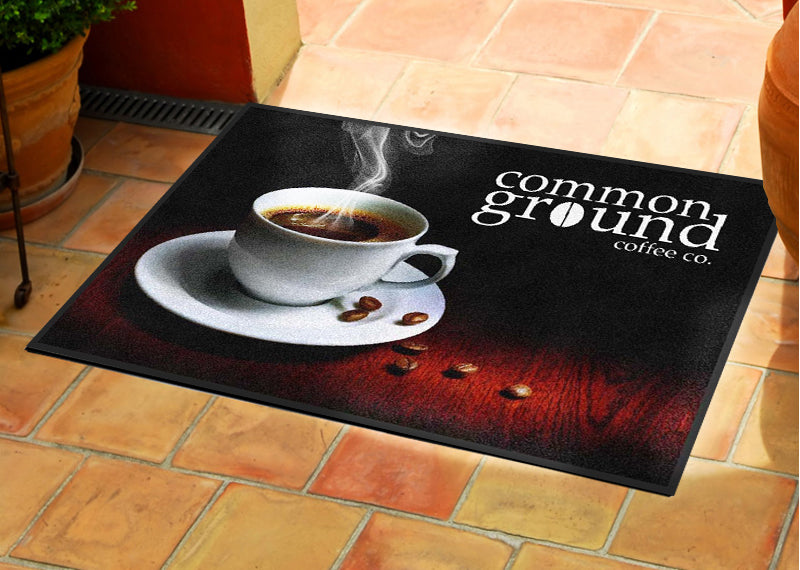 Common Ground Coffee Co. 2 X 3 Rubber Backed Carpeted HD - The Personalized Doormats Company