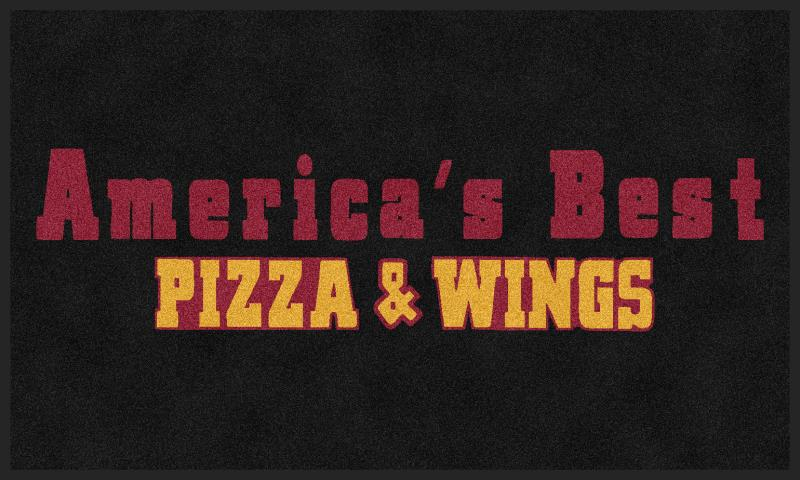 Americas Best Pizza&Wings 3 X 5 Rubber Backed Carpeted HD - The Personalized Doormats Company