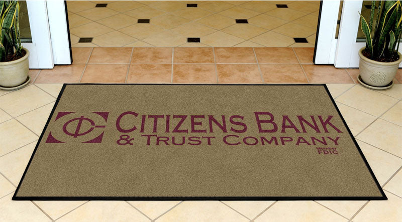 Citizens Bank & Trust 3 X 5 Rubber Backed Carpeted HD - The Personalized Doormats Company