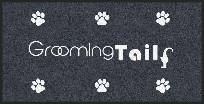 Grooming Tails 3 X 6 Rubber Backed Carpeted HD - The Personalized Doormats Company