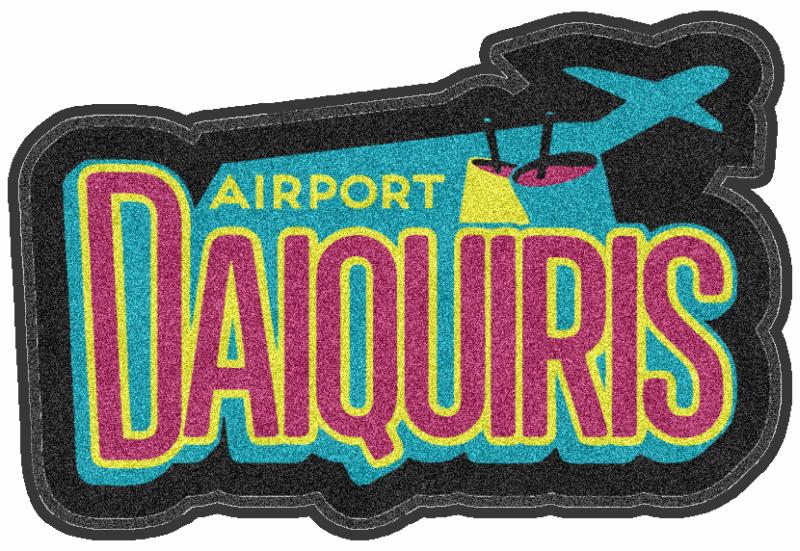 airport daiquiris 4 X 6 Rubber Backed Carpeted HD Custom Shape - The Personalized Doormats Company