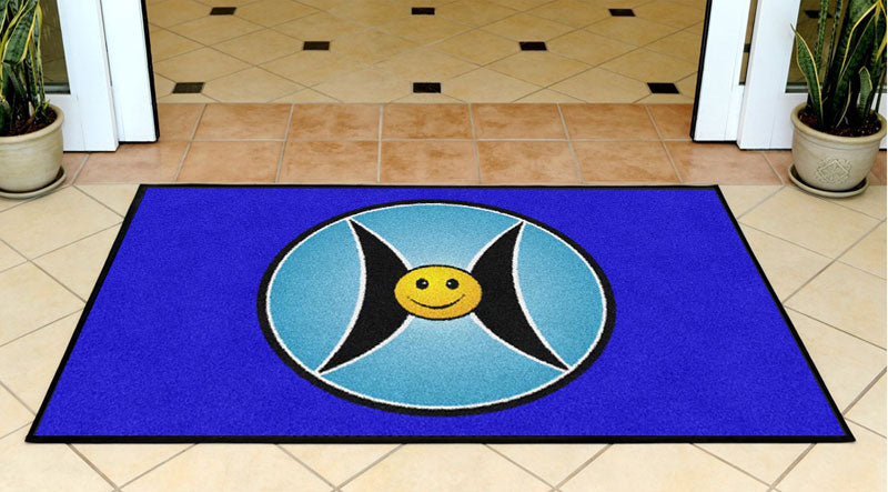 Happy Circle 3 x 5 Rubber Backed Carpeted - The Personalized Doormats Company