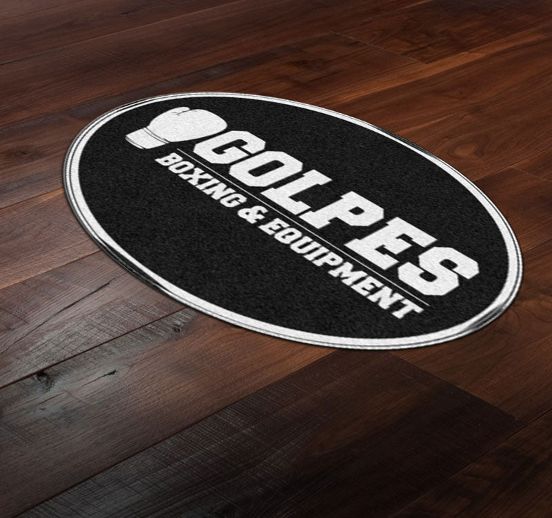 GOLPES 4 X 6 Rubber Backed Carpeted HD Round - The Personalized Doormats Company