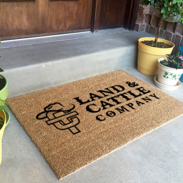 Flocked Classic Coir Logomat Custom Logo Mat - The Personalized Doormats Company