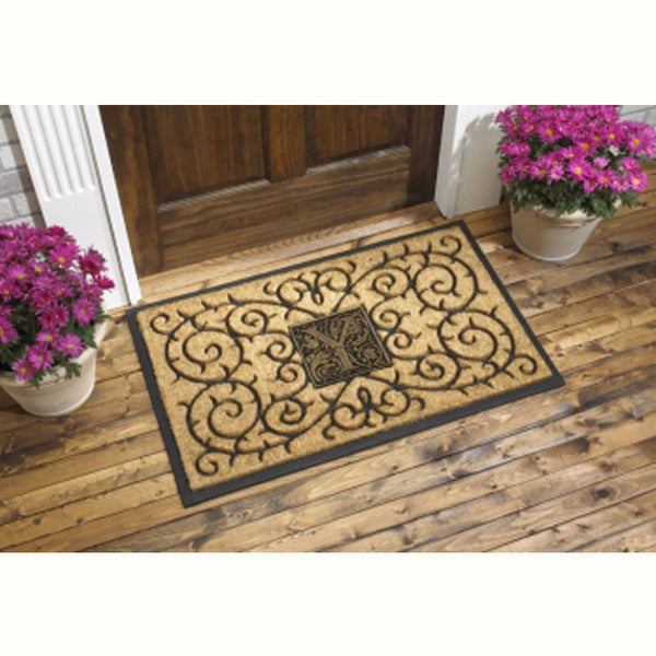 24 x 39 Koko & Aluminum Doormat with Monogram Coir Medallion Koko & Aluminum - The Personalized Doormats Company
