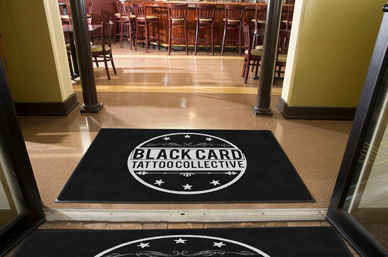 Black Card Tattoo Collective 4 X 6 Rubber Backed Carpeted HD - The Personalized Doormats Company