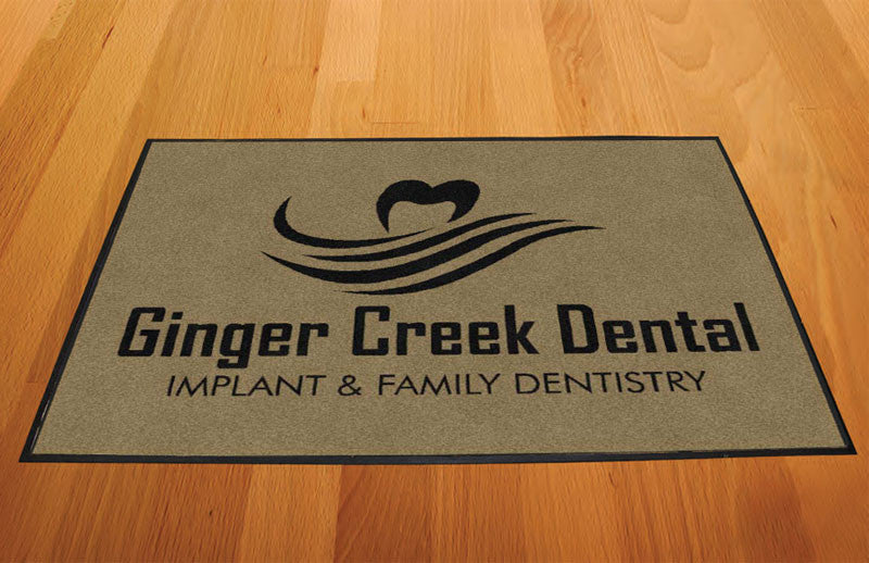 Ginger Creek Indoor Black Logo 2 X 3 Rubber Backed Carpeted HD - The Personalized Doormats Company