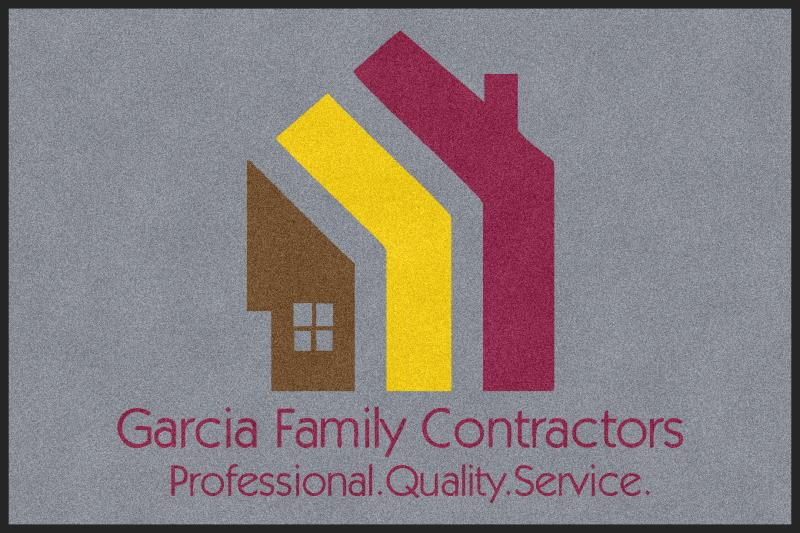 Garcia Family Contractors 4 X 6 Rubber Backed Carpeted - The Personalized Doormats Company