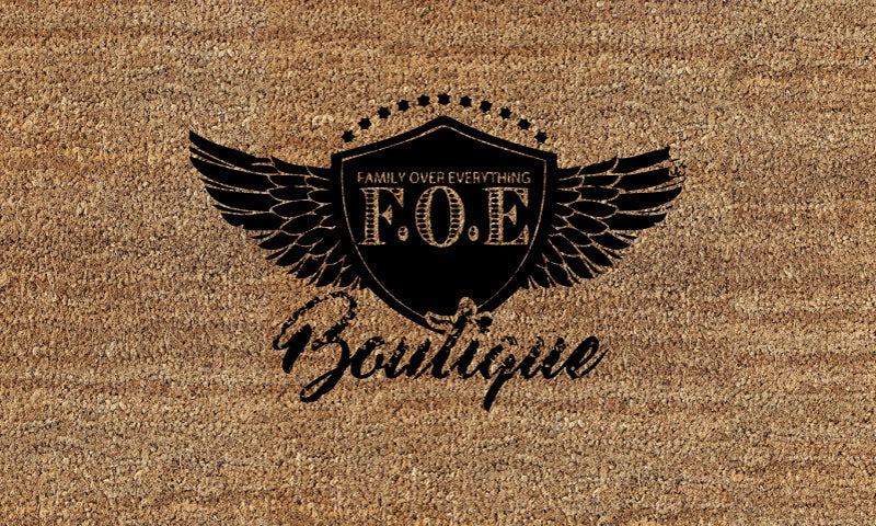 Family Over Everything Boutique 18 X 30 Flocked Duracoir (PDC) - The Personalized Doormats Company