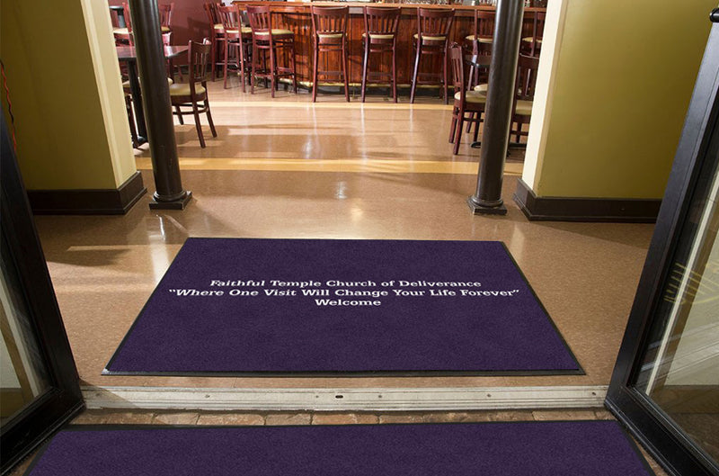 Faithful Temple Church of Deliverance 4 X 6 Rubber Backed Carpeted HD - The Personalized Doormats Company